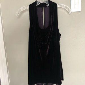 Vince silk velvet drape front eggplant halter top